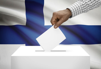 Ballot box with national flag on background - Finland