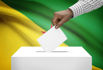 Ballot box with national flag on background - French Guiana