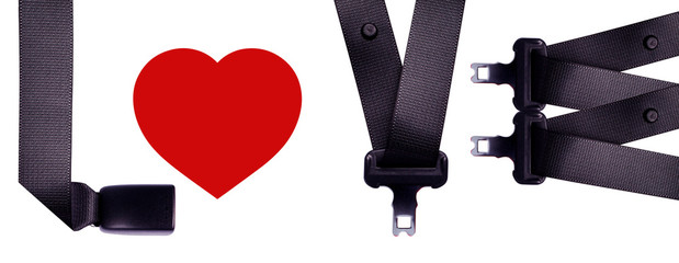 Sort safety belt is the word LOVE.
