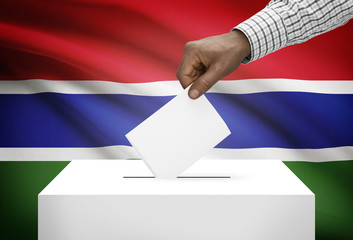 Ballot box with national flag on background - Gambia