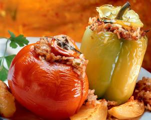 Stuffed pepper and tomato -- Gemista