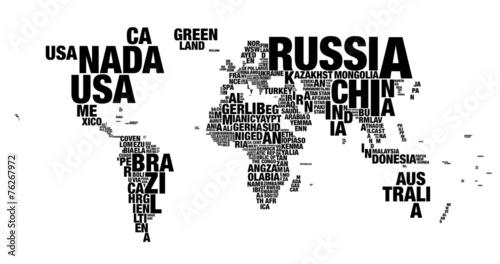 Word cloud of world map in 4k resolution © aleksandrbagri