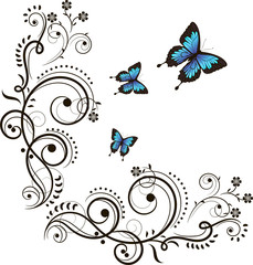 Butterfly and floral ornament