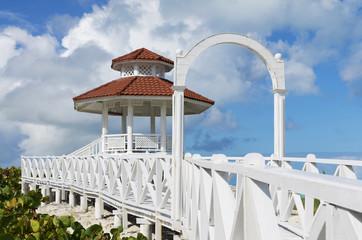 Wedding station tower on white sandy beach, Santa Maria, Cuba