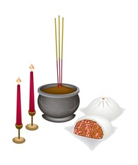 Chinese Nikuman with Candle and Joss Stick