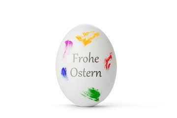 "weißes Osterei ""Frohe Ostern"""