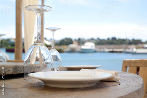 Foto op Aluminium Boord Gedeckter Tisch | Catering | Restaurant | Urlaub