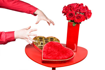 Man About to Grab Valentines Chocolates