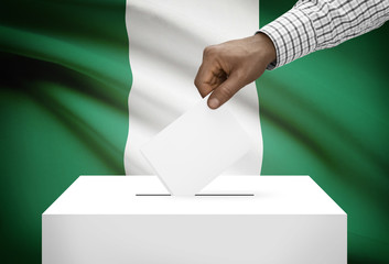 Ballot box with national flag on background - Nigeria