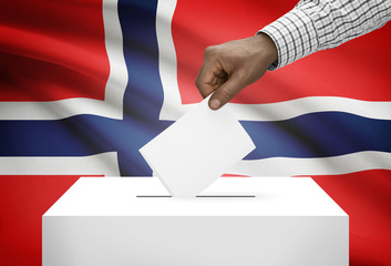 Ballot box with national flag on background - Norway