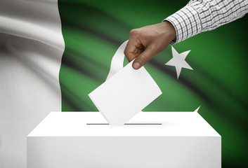 Ballot box with national flag on background - Pakistan