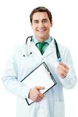 Doctor with medicament and clipboard, over white