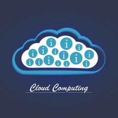 Cloud computing service illustration with conceptual cloud and i