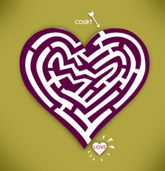 Heart Maze in Gold Background. Love and courtship concept