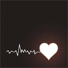 Creative poster with heart beat cardiogram in white color and he