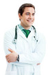 Cheerful smiling doctor, over white