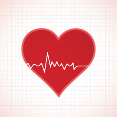 Heart beat cardiogram inside red heart icon concept illustration