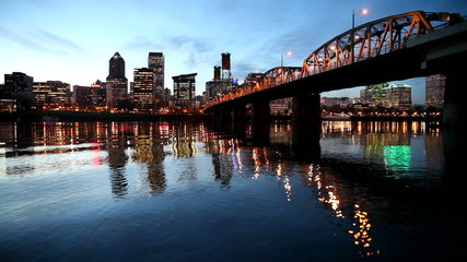 City of Portland Oregon with Blue Water Reflection at Night