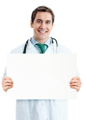 Doctor with blank signboard with copyspace area
