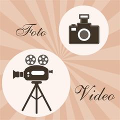 Photo or foto and video studio retro design background