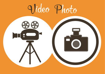 Photo and video service or studio poster on orange background re