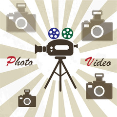 Photo video studio vintage poster concept design