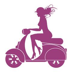 Girl Scooter - vector logo
