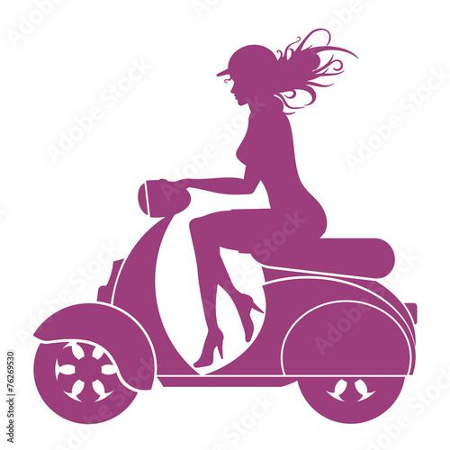 Girl Scooter - vector logo - 76269530