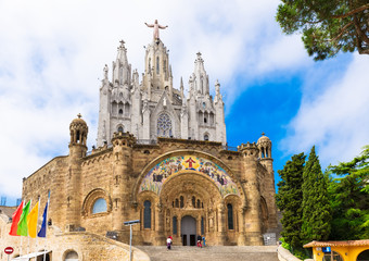 Church of Sacred Heart of Jesus on Tibidabo in Barcelona, Spain