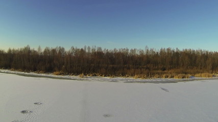 River panorama in  winter with  beautiful sun. Aerial shot