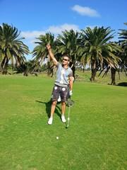 Golfplatz im Wind kanarische Inseln