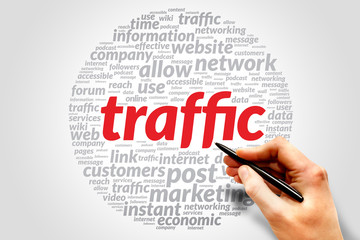 Traffic business concept in word tag cloud