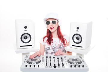 Trendy Female DJ Mixing Music