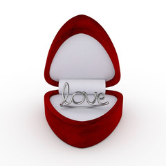 3d Velvet Ring Box with Silver Love Ring - isolated