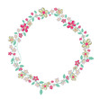 Elegant summer flowers round frame background