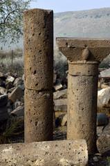 Ancient columns in Umm el Kanatir synagogue.