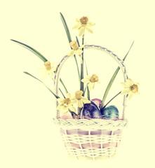 Daffodil & Easter Eggs in Basket - Retro