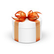 White Round Gift Box with Orange Ribbon and Bow