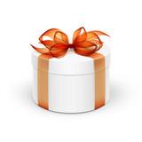 White Round Gift Box with Orange Ribbon and Bow