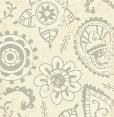 Grunge beige indian pattern vector