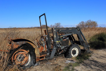 Tracteur brulé