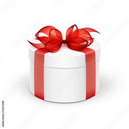 White Round Gift Box with Red Ribbon and Bow - 76272388