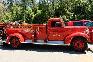 antique 1940 year restored firefighters  truck