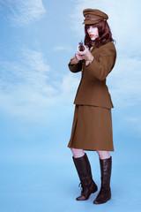 Fine art portrait of a lady in army uniform