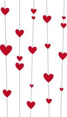 Rote Herzen an Linie, Vektor