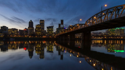 Time Lapse of Portland Oregon Downtown Cityscape at Night