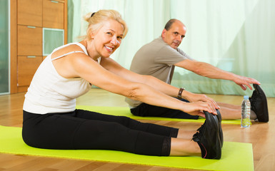 Mature couple doing exercises