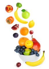 Falling fresh color fruits