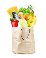 Grocery bag with healthy food