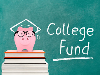 Piggy bank and college fund message